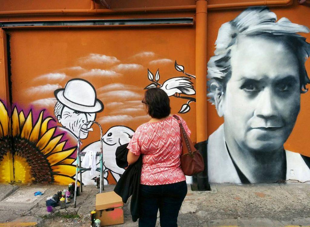Street art depicting image of Carmen Lyra, photo credit costaricaenlapared